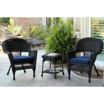 Black Wicker Chair And End Table Set With Midnight Blue Cushion