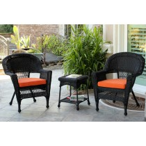 Black Wicker Chair And End Table Set With Orange Cushion