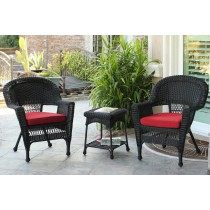 Black Wicker Chair And End Table Set With Brick Red Cushion