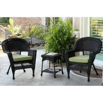 Black Wicker Chair And End Table Set With Sage Green Cushion