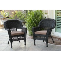 Black Wicker Chair With Brown Cushion - Set of 4