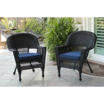 Black Wicker Chair With Midnight BlueCushion - Set of 4