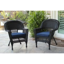 Black Wicker Chair With Cushion - Set of 4