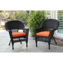 Black Wicker Chair With Orange Cushion - Set of 4