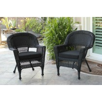 Black Wicker Chair With Black Cushion - Set of 4