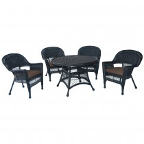 5pc Black Wicker Dining Set - Brown Cushions