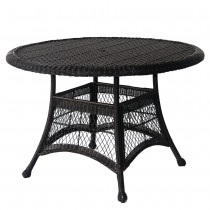 "Black Wicker 44"" Round Dining Table"