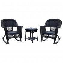 3pc Black Rocker Wicker Chair Set Without Cushion