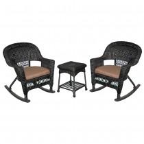 3pc Black Rocker Wicker Chair Set With Brown Cushion