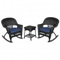 3pc Black Rocker Wicker Chair Set With Midnight Blue Cushion
