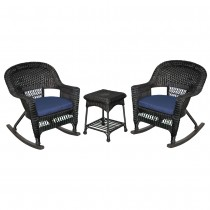 3pc Black Rocker Wicker Chair Set With Cushion