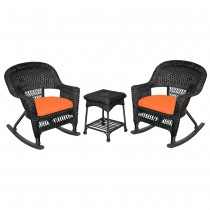3pc Black Rocker Wicker Chair Set With Orange Cushion