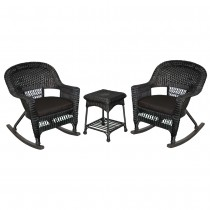 3pc Black Rocker Wicker Chair Set With Black Cushion