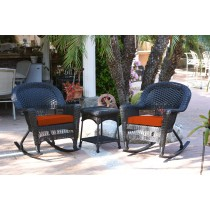 3pc Black Rocker Wicker Chair Set With Brick Red Cushion
