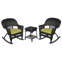 3pc Black Rocker Wicker Chair Set With Sage Green Cushion