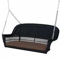 Black Resin Wicker Porch Swing with Brown Cushion