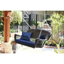 Black Resin Wicker Porch Swing with Cushion