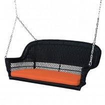 Black Resin Wicker Porch Swing with Orange Cushion