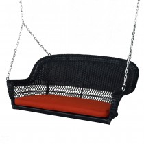 Black Resin Wicker Porch Swing with Brick Red  Cushion