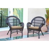 Santa Maria Espresso Wicker Chair with Tan Cushion - Set of 2