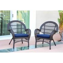 Santa Maria Espresso Wicker Chair with Cushion Set of 2