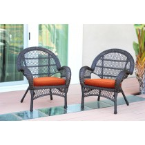 Santa Maria Espresso Wicker Chair with Orange Cushion - Set of 2