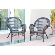 Santa Maria Espresso Wicker Chair Without Cushion - Set of 2