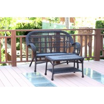 Santa Maria Espresso Wicker Patio Love Seat And Coffee Table Set Without Cushion