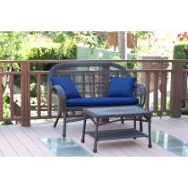 Santa Maria Espresso Wicker Patio Love Seat And Coffee Table Set - Midnight Blue Cushion