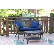 Santa Maria Espresso Wicker Patio Love Seat And Coffee Table Set With Cushion