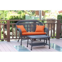 Santa Maria Espresso Wicker Patio Love Seat And Coffee Table Set - Orange Cushion
