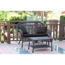 Santa Maria Espresso Wicker Patio Love Seat And Coffee Table Set - Black Cushion
