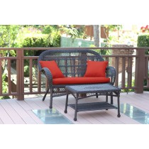 Santa Maria Espresso Wicker Patio Love Seat And Coffee Table Set - Brick Red Cushions