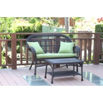 Santa Maria Espresso Wicker Patio Love Seat And Coffee Table Set - Sage Green Cushion