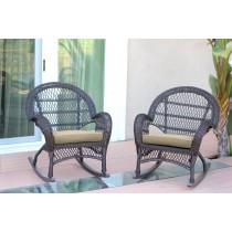 Santa Maria Espresso Wicker Rocker Chair with Tan Cushion - Set of 2