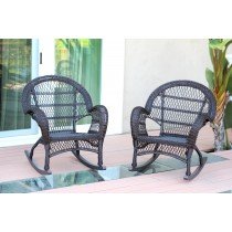 Santa Maria Espresso Rocker Wicker Chair Without Cushion - Set of 2