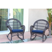 Espresso Wicker Rocker Chair with Cushion Set of 4