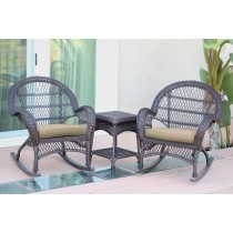 3pc Santa Maria Espresso Rocker Wicker Chair Set - Tan Cushions
