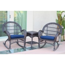 3pc Santa Maria Espresso Rocker Wicker Chair Set With Cushions