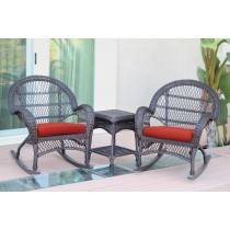 3pc Santa Maria Espresso Rocker Wicker Chair Set - Brick Red Cushions