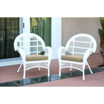 Santa Maria White Wicker Chair with Tan Cushion - Set of 2