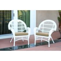 Santa Maria White Wicker Chair with Tan Cushion - Set of 4