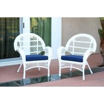 Santa Maria White Wicker Chair with Midnight Blue Cushion - Set of 4
