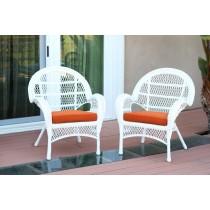 Santa Maria White Wicker Chair with Orange Cushion - Set of 4