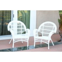 Santa Maria White Wicker Chair Without Cushion - Set of 2