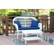 Santa Maria White Wicker Patio Love Seat And Coffee Table Set With Cushion