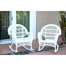 Santa Maria White Rocker Wicker Chair Without Cushion - Set of 2