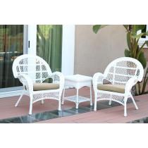 3pc Santa Maria White Wicker Chair Set - Tan Cushions