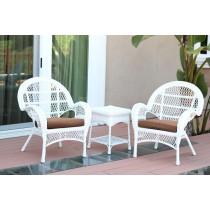 3pc Santa Maria White Wicker Chair Set - Brown Cushions