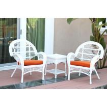 3pc Santa Maria White Wicker Chair Set - Orange Cushions